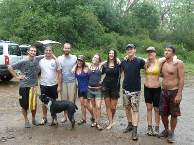 Picture of 9 hikers and their dog.