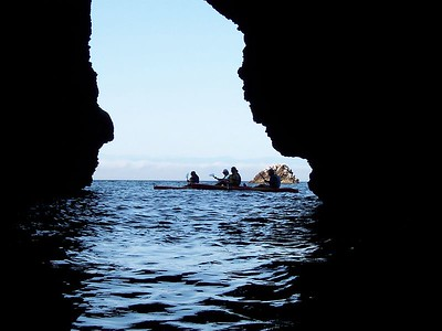 In Santa Cruz Island sea cave